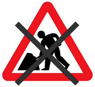 road works crossed out